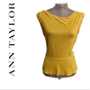 Ann Taylor sleeveless drape neck Top yellow